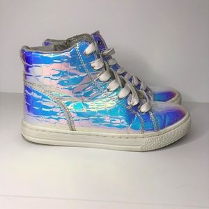 Justice Shoemetallic Reflective High Top Size 5